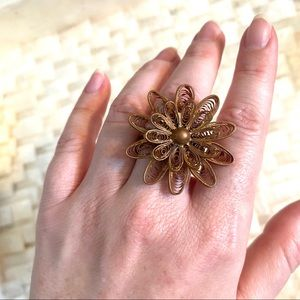 Roost Copper Filigree Flower Adjustable Ring NWT